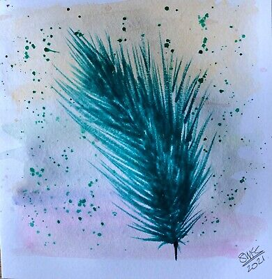 £2.95 • Buy Original Hand Painted Watercolour Greetings Card, Blank.  'Feather'