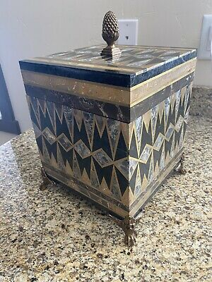 """$295.95 • Buy Maitland Smith """"Out Of Stock"""" Mosaic Stone Decorative Box With Pineapple"""