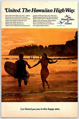 $5 • Buy UNITED AIRLINES THE HAWAIIAN HIGH WAY Vintage 1960's 6  X 9  Magazine Ad M14
