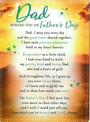 £2.89 • Buy DAD Missing You On Fathers Day Memorial Card With Stand Graveside Father's Day