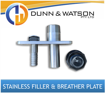 AU130 • Buy Stainless Steel Water Tank Filler And Breather Plate (Ute Tray, Trailer, Camper)