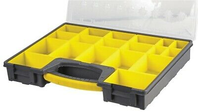 £22 • Buy 19 Compartment Grey Yellow Organiser Case Removable Tray 420mm X 335mm X 62mm