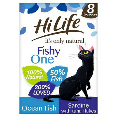£10.99 • Buy Hilife It's Only Natural The Fishy One Adult Cat Food 8X70g