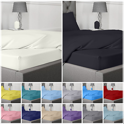 £11.99 • Buy Extra Deep 25/35cm Fitted Sheet Bed Sheets 400 TC Egyptian Cotton Fitted Sheet