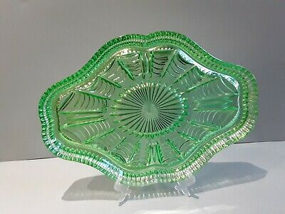 £10 • Buy Green Glass Dressing Table Tray Vgc.