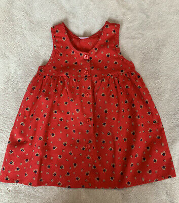 £12.95 • Buy Immaculate Vintage Red Floral Fine Corduroy Dress 18 - 24 Months