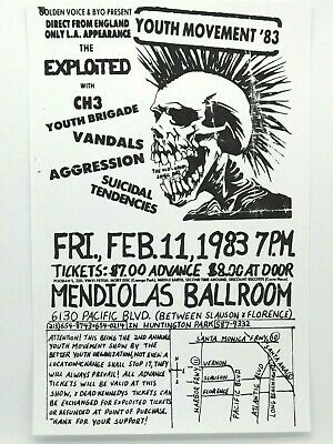 $14.95 • Buy The Exploited Suicidal Tendencies Youth Movement 83 Vintage Punk Concert Poster