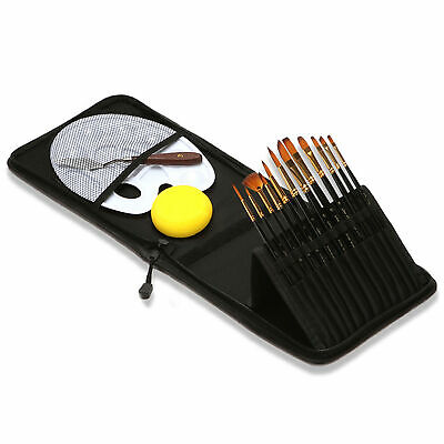 $21.42 • Buy 12pcs Artist Paint Brushes Set No Shed Nylon Hair Wood Handle With Carrying X8M4