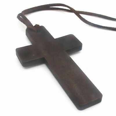 $8.99 • Buy Mens Christian Amulet Protection Large Wooden Wood Cross Pendant Necklace