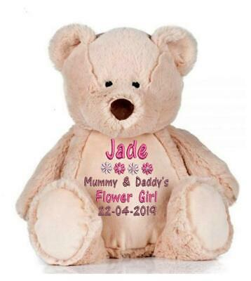 £24 • Buy Personalised Teddy Bear Bridesmaid Flower Girl Pageboy Wedding Embroidered Gift