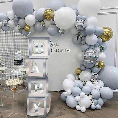 £5.95 • Buy SILVER A-Z Letter Cube Wedding Baby Shower Balloon Box Birthday Party Decor