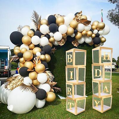 £4.95 • Buy GOLD A-Z Letter Cube Wedding Baby Shower Balloon Box Birthday Party Decor