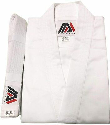 £9.99 • Buy Adult Student White Karate Suit Poly/Cotton Uniforms Mens Kimono With Free Belt