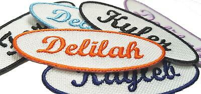 £3.75 • Buy Personalised Oval Embroidered Name Patches Sew Iron On Badge Jeans Club