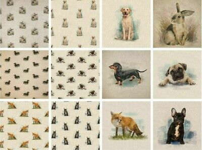 £6.99 • Buy Animal Linen Look Cotton Rich Fabric All Over & Panels Upholstery