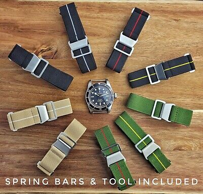 £10.95 • Buy French Military Diver Marine Nationale Elasticated Nylon Watch Straps 20mm 22mm