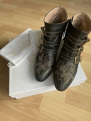 £375 • Buy Chloe Susanna Ankle Boots Black Leather With Gold Studs Size 41 Used