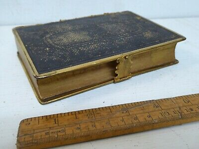 £11.99 • Buy Antique 1869 Eyre & Spottiswood  Bible With Brass Edge + Clasp. Meader Family