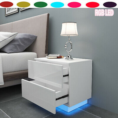 £56.99 • Buy Modern Bedside Table High Gloss Cabinet Drawers LED Nightstand Bedroom Furniture