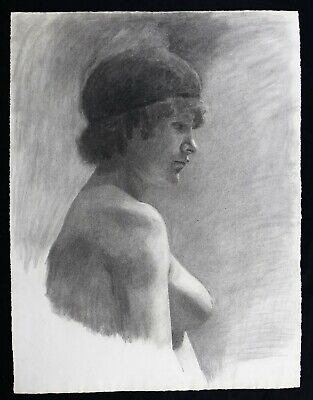 £234.37 • Buy Large Naked Female Of Profile Drawing Charcoal And Pencil Circa 1900 Nice Period