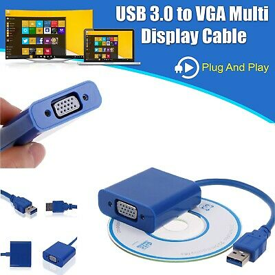 £8.49 • Buy USB 3.0 To VGA Video Adapter Cable Converter 1080p For PC Laptop Windows 7/8/10