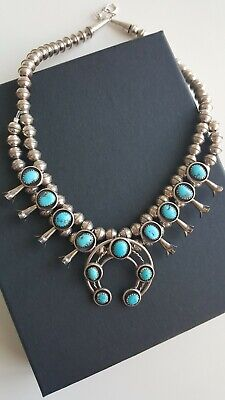 $ CDN1000 • Buy Sterling Navajo Sleeping Beauty Turquoise & Pyrite Mini Squash Blossom Necklace