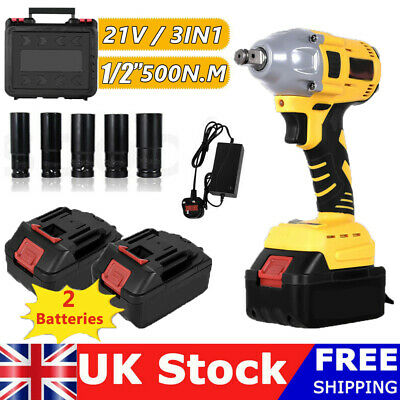 £60.99 • Buy Cordless Impact Wrench 1/2  Impact Driver Ratchet Rattle Nut Gun With Batteries