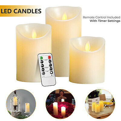 £11.39 • Buy Set Of 3 LED Flameless Pillar Candles Flickering Battery Operated With Remote