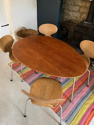 £2315 • Buy 1950s Arne Jacobsen Fritz Hansen Egg Shaped Table And Chairs