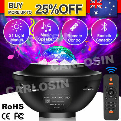 AU31.85 • Buy LED Galaxy Starry Night Light Projector Lamp Star Sky Party Baby Music Kid Gift