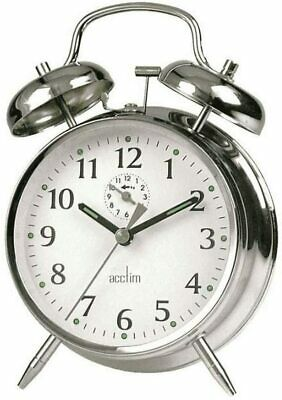 £15.81 • Buy Traditional Classic Saxon Wind Up Double Bell Alarm Clock - Chrome