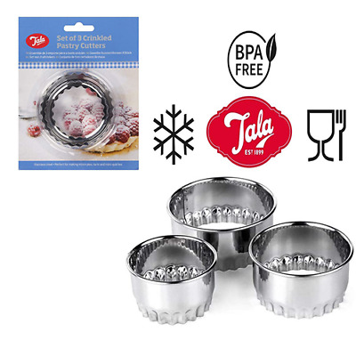 £4.15 • Buy  Set X 3 Crinkled Scone Fluted Pastry Cutters Tart Quiche Stainless Steel Mince