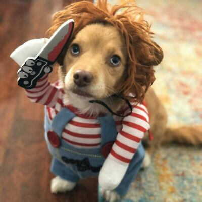 £6.69 • Buy Pet Dog Halloween Cosplay Costume Holding Knife Chucky Doll Outfit Multiple Size