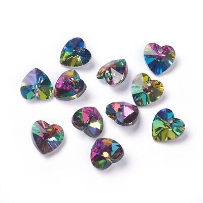 £1.85 • Buy  Crystal Glass Faceted AB Rainbow Heart Pendant Charms 10mm Pack Of 10
