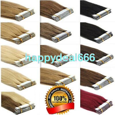 £27.34 • Buy Seamless Tape In Remy Human Hair Extensions Skin Weft 100% Russian Hair Balayage