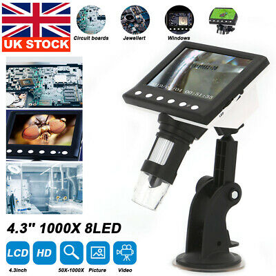 £20.99 • Buy 4.3  1000X Microscope HD LCD Monitor Electronic Digital Video 8 LED Magnifier