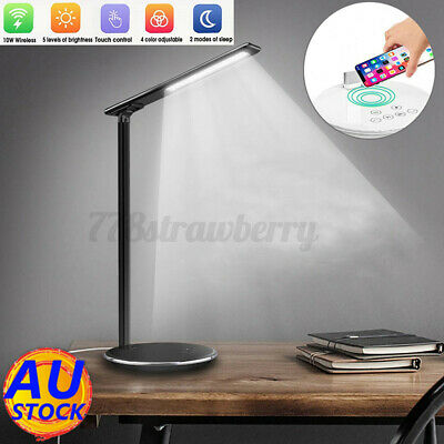 AU24.99 • Buy USB Charge LED Desk Table Lamp Light +10W QI Wireless Phone Charger Home Reading