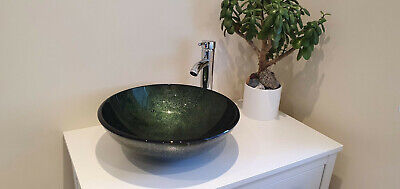 £32.99 • Buy Bathroom Washroom Counter Top Round Tempered Glass Sink & Mounting Ring, Avocado
