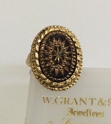£18 • Buy Vintage Jewellery Sphinx Victorian Revival Mourning Mosaic Jet Glass  Dress Ring
