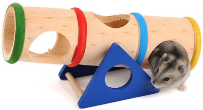 £12.47 • Buy Emours™ Small Animal Playground Cylinder Wooden Seesaw For Drawf Hamsters Mice
