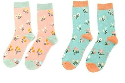 £6.95 • Buy Super Soft Bamboo Socks Dainty Floral In Dusky Pink Duck Egg By MISS SPARROW