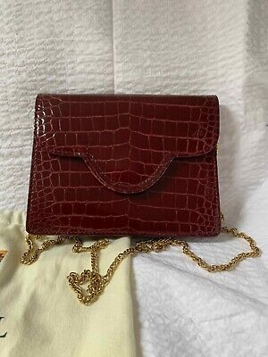 £100 • Buy Aspinal Of London Small Burgundy Clutch Bag With Cover