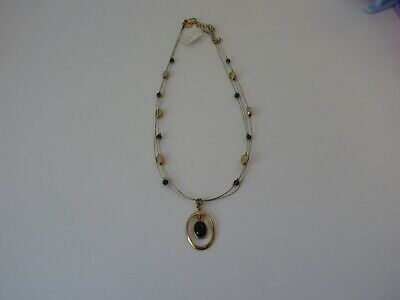 $ CDN8.80 • Buy New With Tag Lia Sophia Necklace Gold Tone 3 Strands With Black Stone