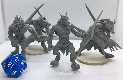 $ CDN14.62 • Buy 4 Large  Male Beastman Werewolf Monster Miniatures For Dungeons And Dragons New