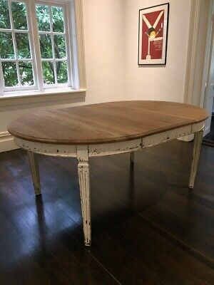 AU1400 • Buy Antique Provincial Oak Wooden Round To Oval Dining Table Leaf Insert Extension