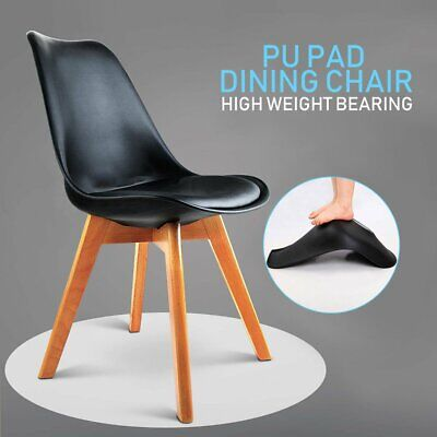 AU76.99 • Buy 4x Dining Chairs Kitchen Table Chair Lounge Room Plastic Wood Retro Padded Seat