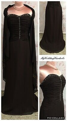 £39.99 • Buy Prom Dress & Stole Brown Chiffon Evening Long Strapless Bridesmaid Maxi Party 10