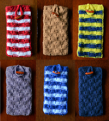 £4.99 • Buy Handmade Knitted Sock Case Pouch Toggle Large Colours IPhone Samsung Smart Phone