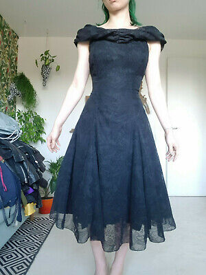 £29.99 • Buy Vintage 80s Midi Full Rockabilly 50s Holloway Style Fitted Dress Gown Goth Witch