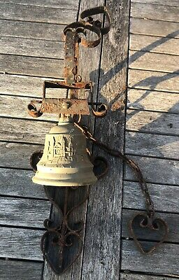 £25 • Buy Weathered Patina Vintage Brass Hanging Door Bell Chain Pull Wall Fit - Mallorca